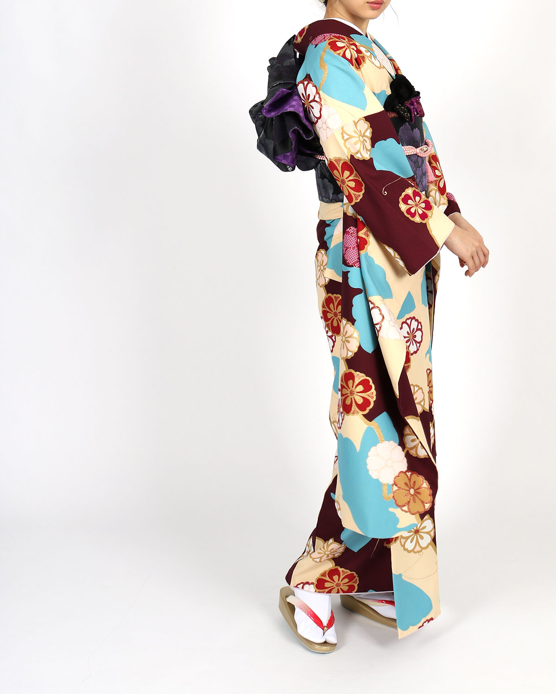 【成人式】 [安心の長期間レンタル]【対応身長150cm〜165cm】レンタル振袖フルセット-897 花柄 レトロ クール系 水色系 紫系 総柄