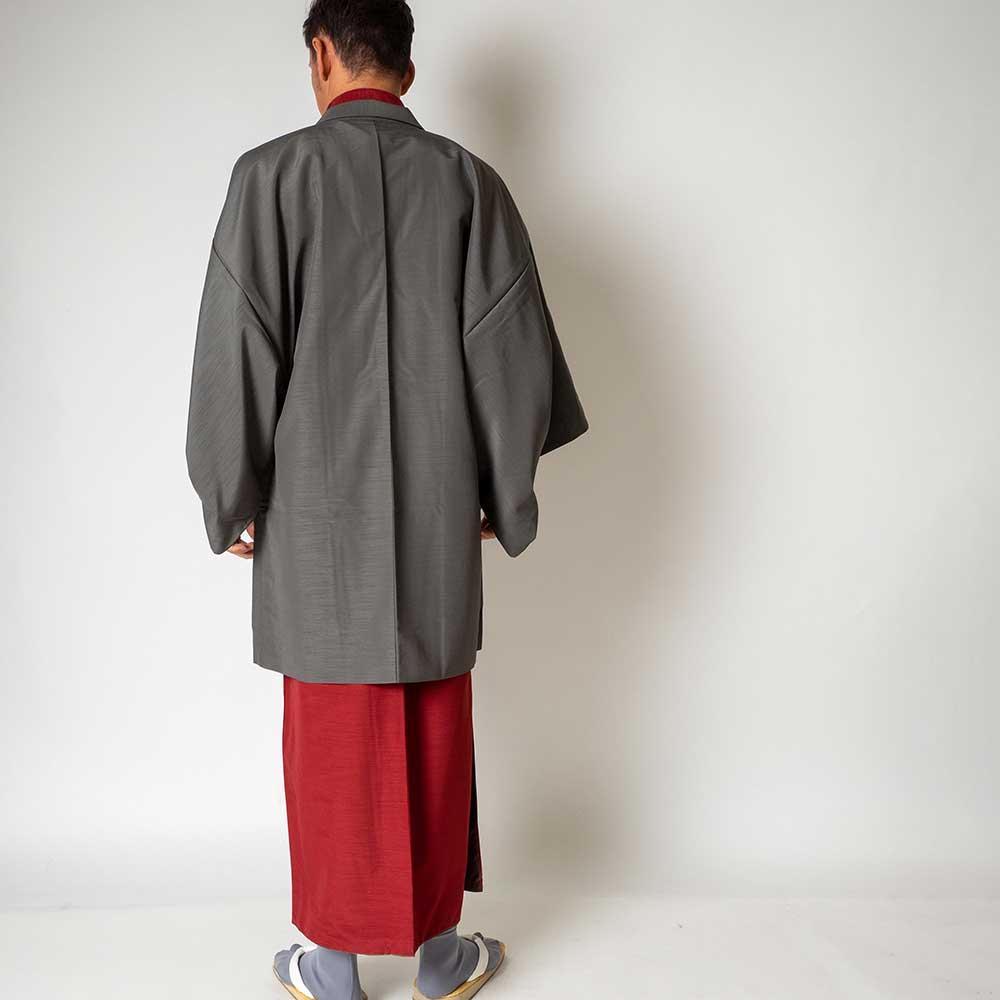 |送料無料|メンズ着物アンサンブル【対応身長180cm〜190cm】【 3Lサイズ】フルセットー着物レッド×羽織グレー|往復送料無料|和服|お正