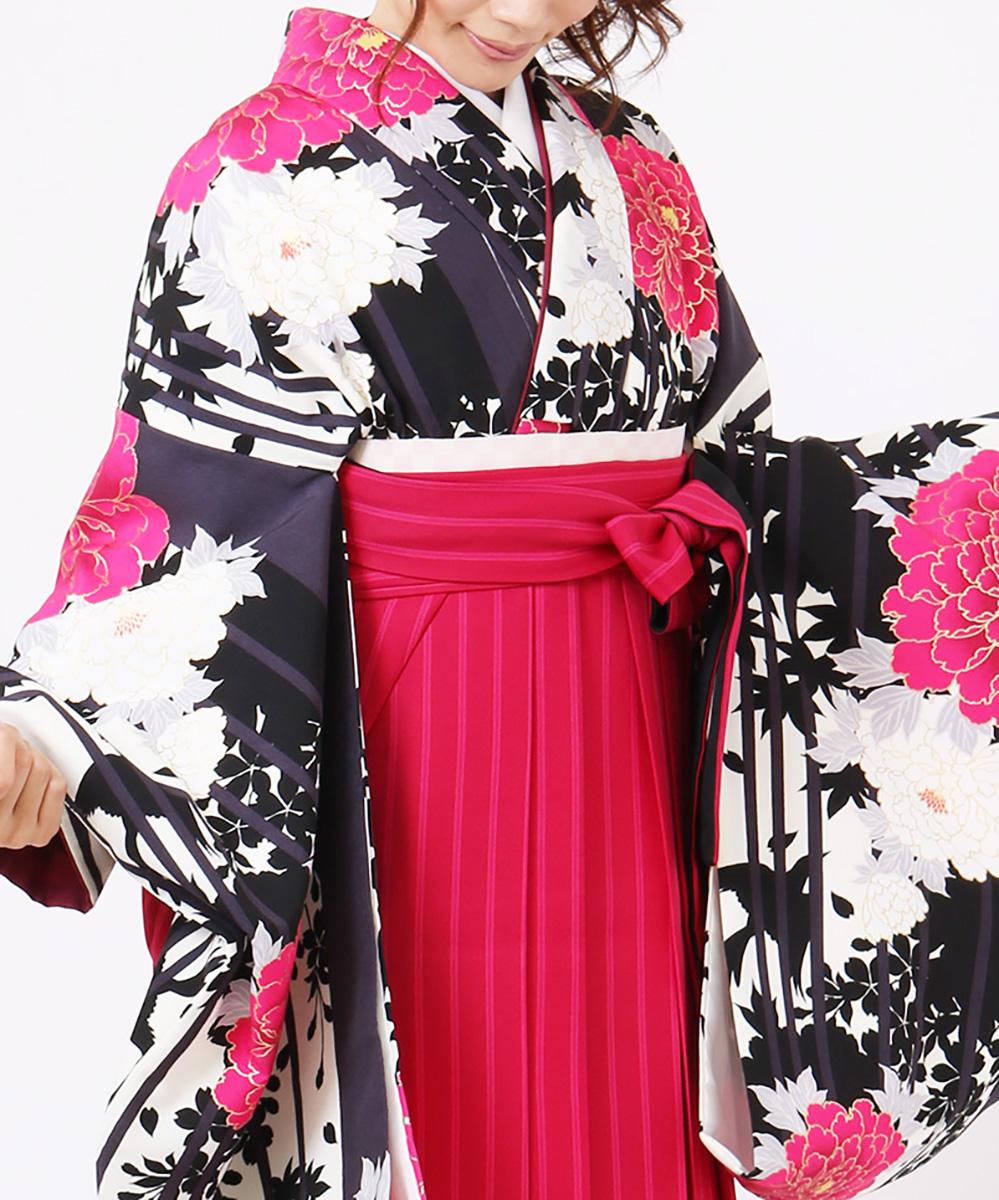 |送料無料|【対応身長157cm〜165cm】【キュート】卒業式レンタル袴フルセット-1199|ピンク|黒 |白|マルチカラー|牡丹|