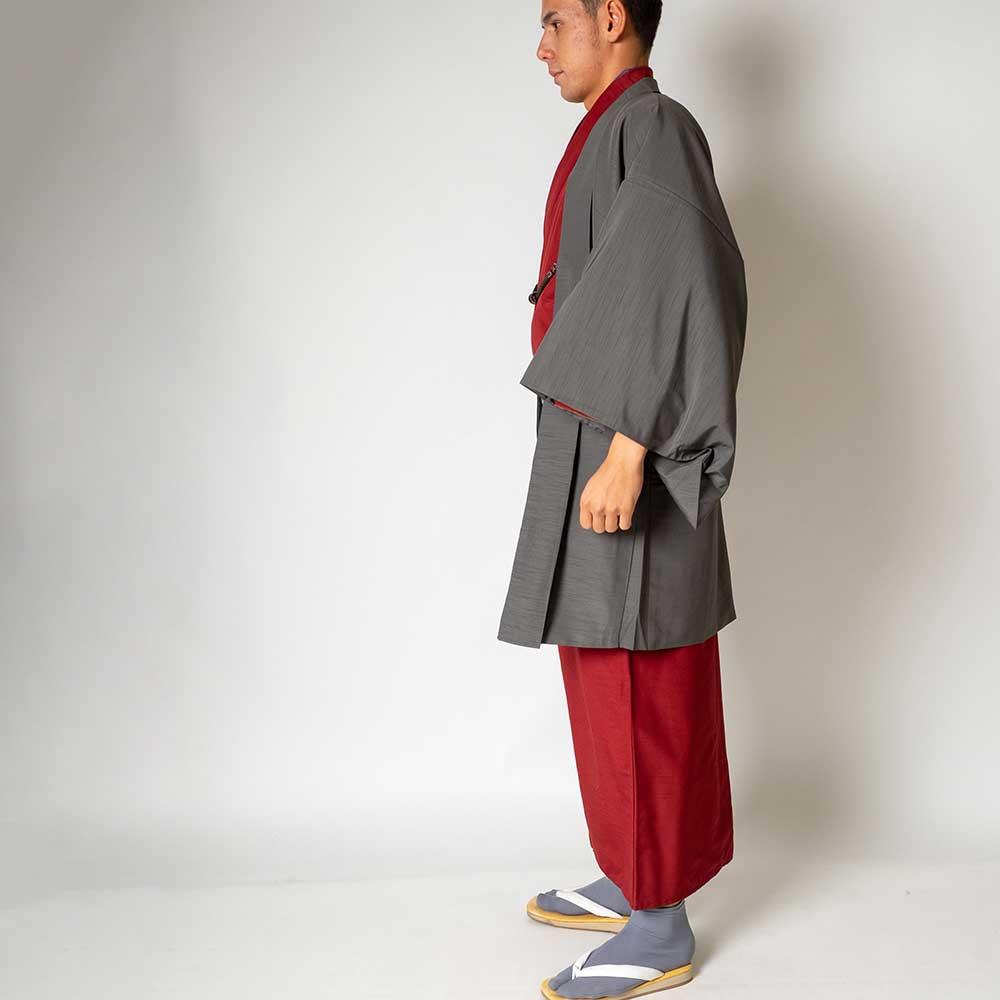 |送料無料|メンズ着物アンサンブル【対応身長165cm〜175cm】【 Mサイズ】フルセットー着物レッド×羽織グレー|往復送料無料|和服|お正