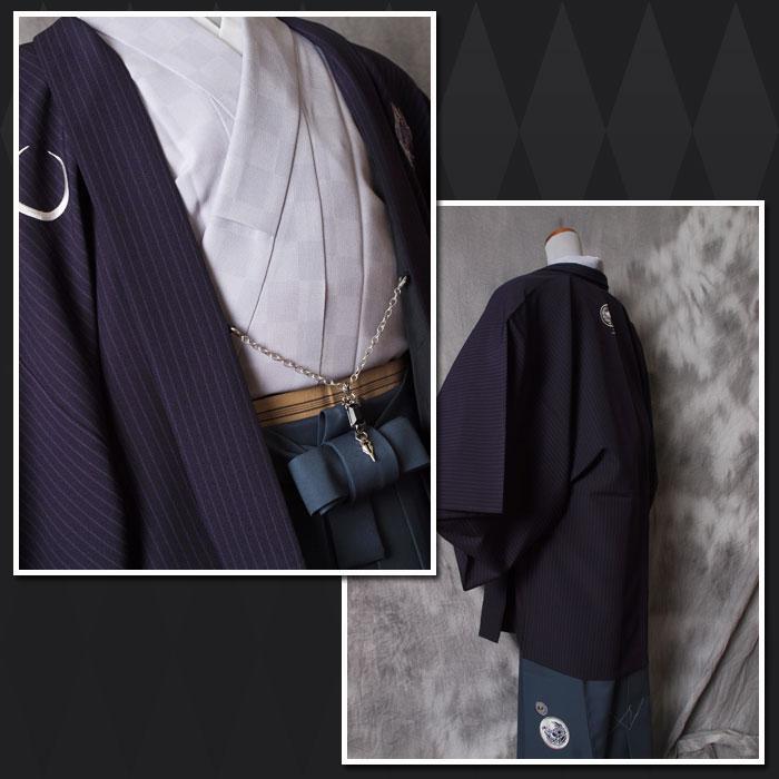 |送料無料|【成人式・卒業式】男性用レンタル羽織袴フルセット-7255