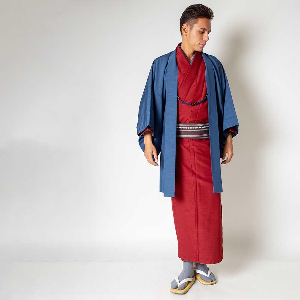 |送料無料|メンズ着物アンサンブル【対応身長180cm〜190cm】【 3Lサイズ】フルセットー着物レッド×羽織ブルー|往復送料無料|和服|お正