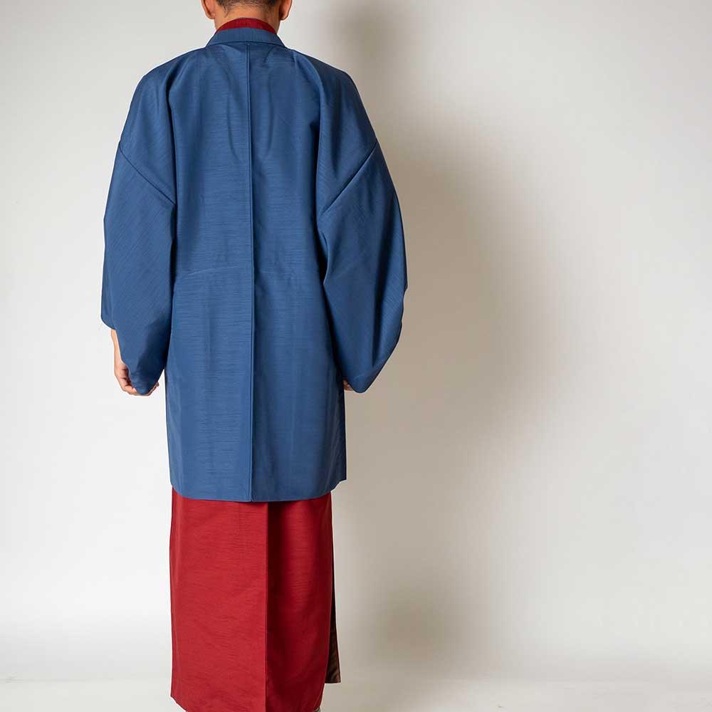 |送料無料|メンズ着物アンサンブル【対応身長165cm〜175cm】【 Mサイズ】フルセットー着物レッド×羽織ブルー|往復送料無料|和服|お正