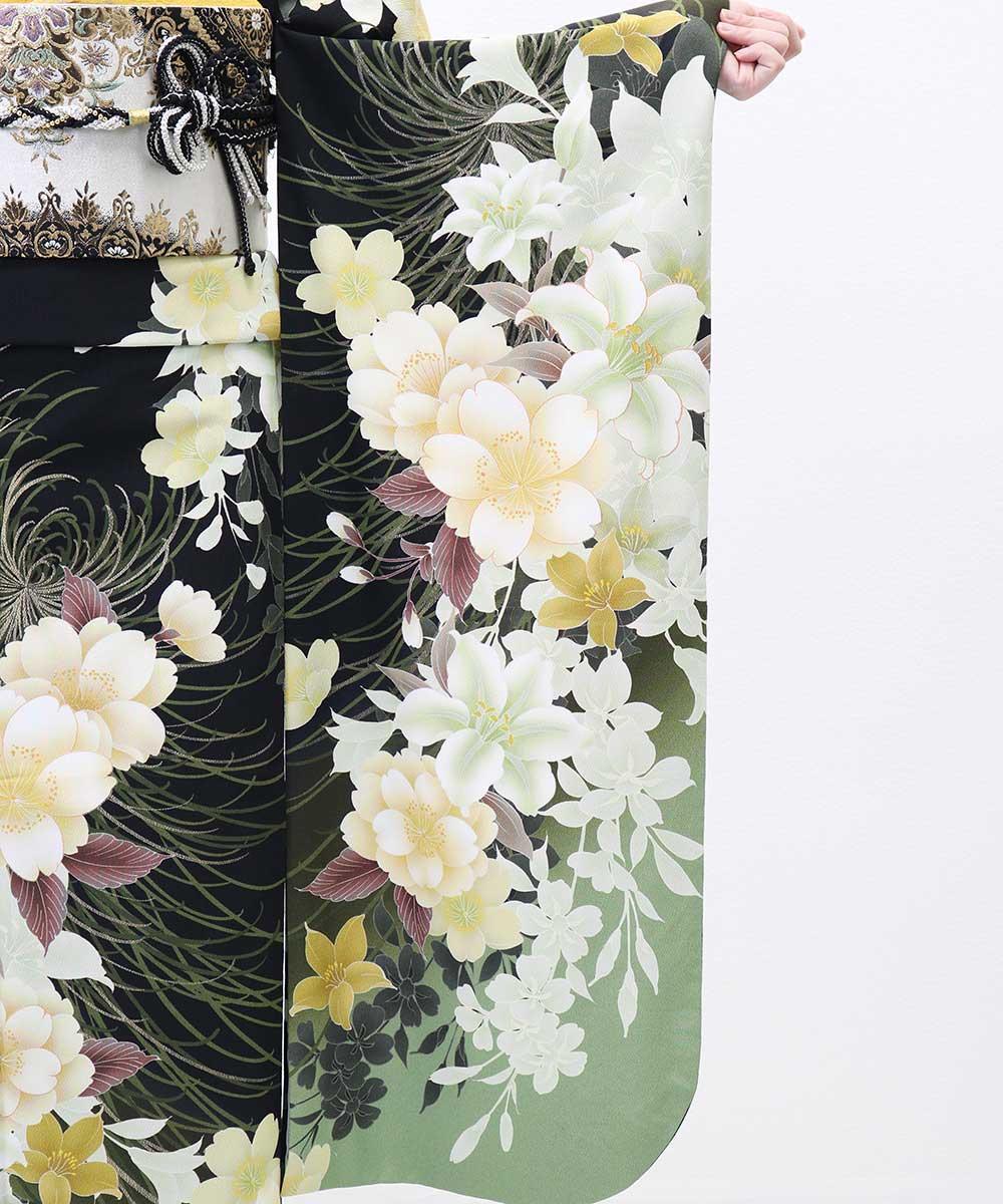 |送料無料|【レンタル】【成人式】 [安心の長期間レンタル]【対応身長155cm〜170cm】【合繊】レンタル振袖フルセット-349|花柄|定番|ク