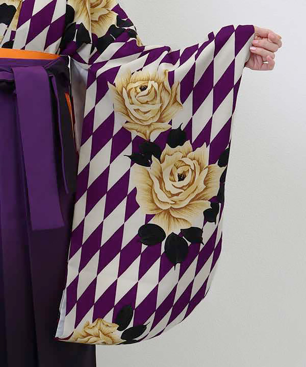 |送料無料|【対応身長157cm〜165cm】【レトロ】卒業式レンタル袴フルセット-1242|マルチカラー|花柄|薔薇|ダイヤ|紫|