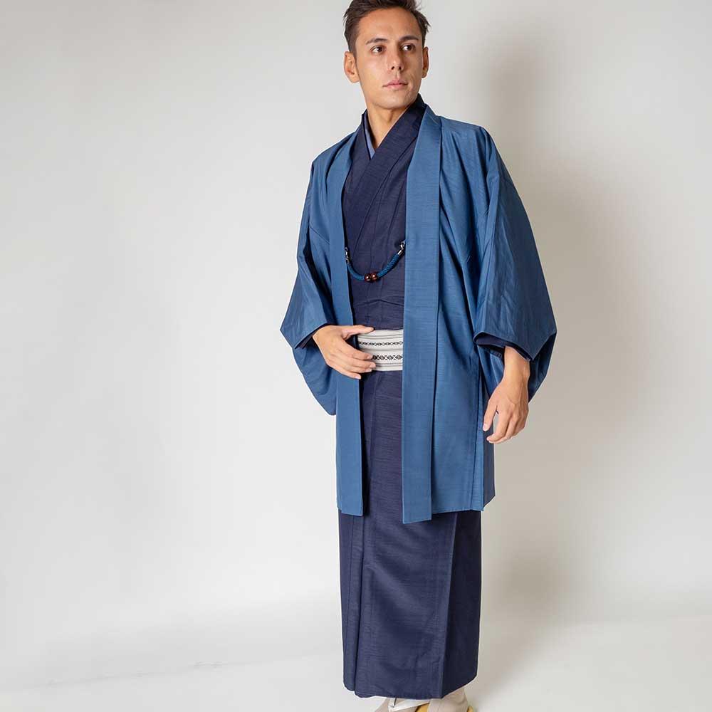 |送料無料|メンズ着物アンサンブル【対応身長175cm〜185cm】【 LLサイズ】フルセットー着物ネイビー×羽織ブルー|往復送料無料|和服|お
