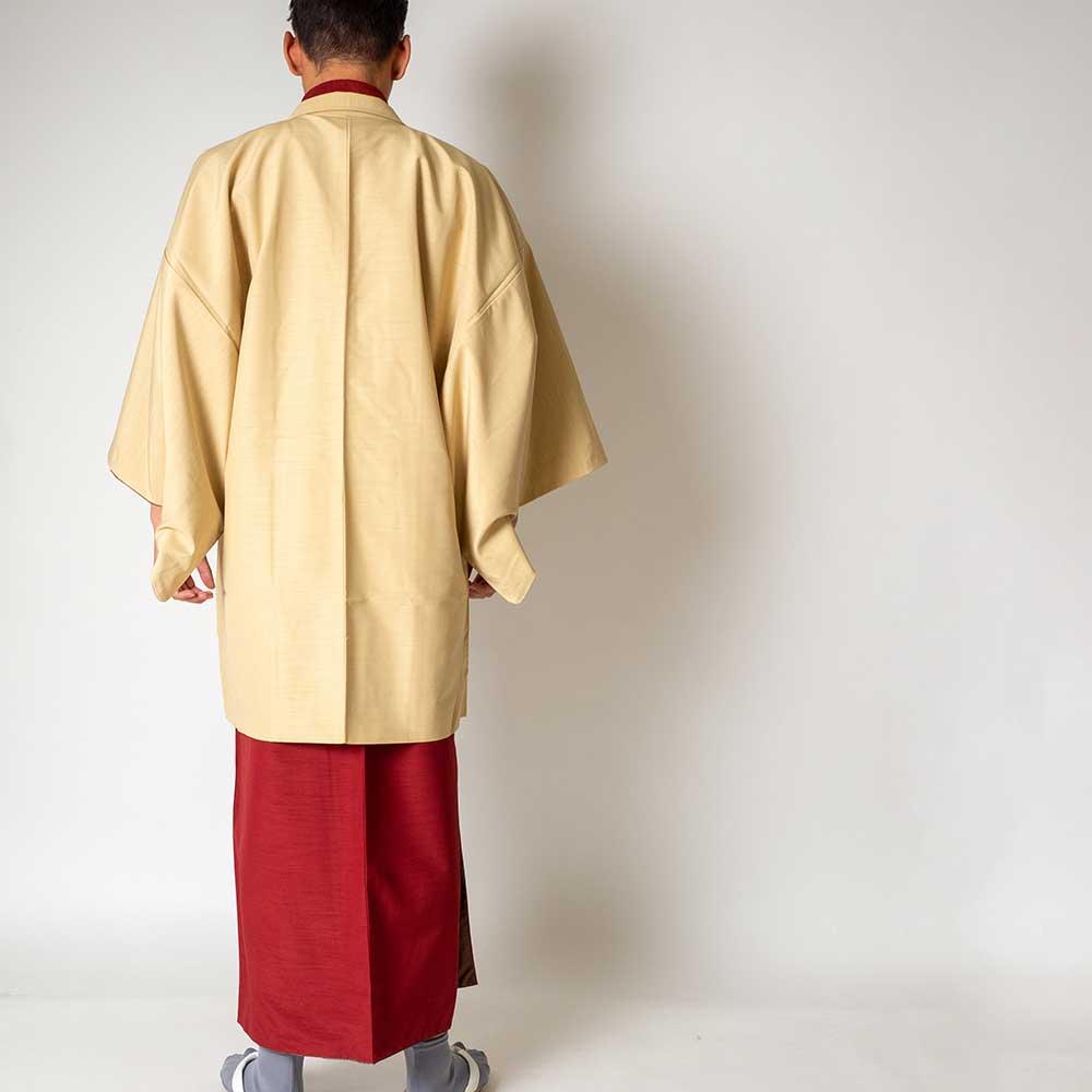 |送料無料|メンズ着物アンサンブル【対応身長175cm〜185cm】【 LLサイズ】フルセットー着物レッド×羽織アイボリー|往復送料無料|和服|