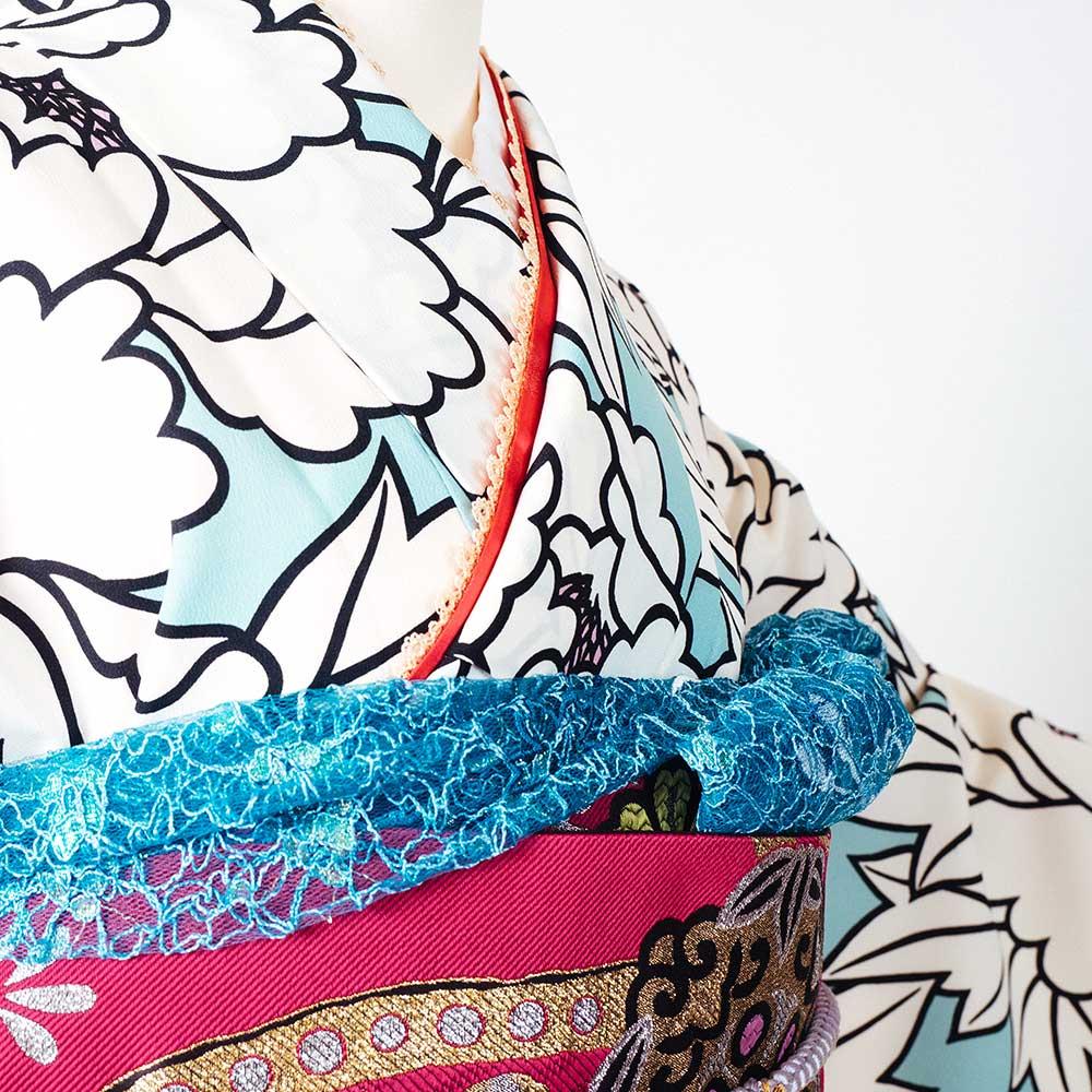  送料無料 【レンタル】【成人式】 [安心の長期間レンタル]【対応身長150cm〜165cm】レンタル振袖フルセット-913 花柄 レトロ クール系