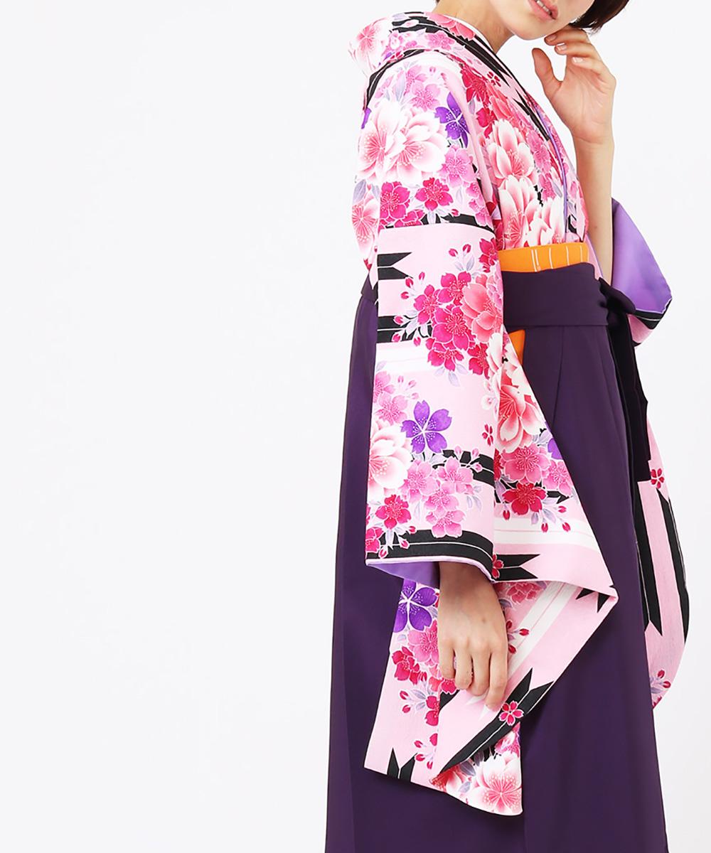 【h】|送料無料|【対応身長150cm〜157cm】【キュート】卒業式レンタル袴フルセット-1072|マルチカラー|花柄|矢絣|桜|ピンク|黒|