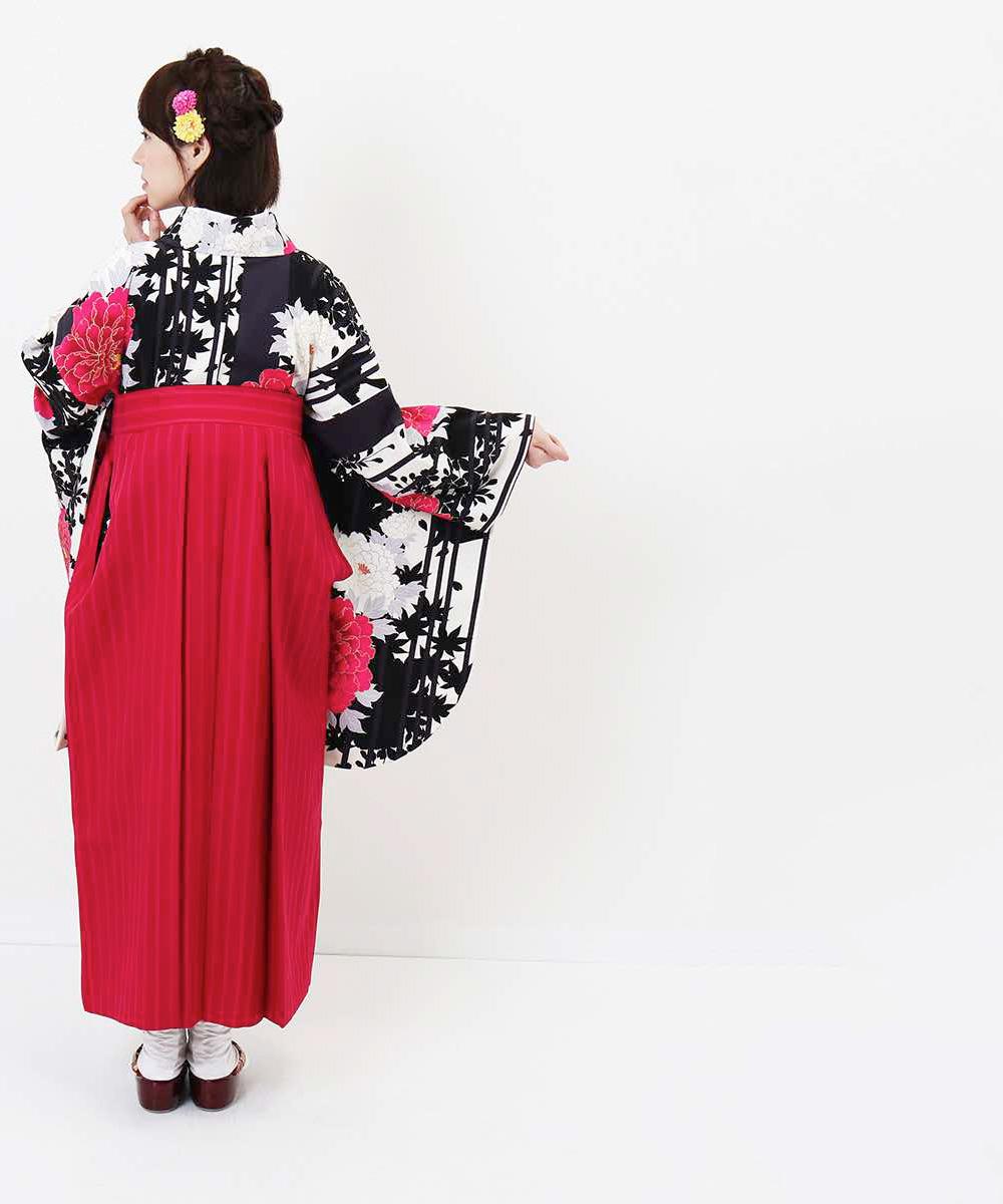 |送料無料|【対応身長157cm〜165cm】【キュート】卒業式レンタル袴フルセット-1207|マルチカラー|花柄|牡丹|ストライプ|ピンク|