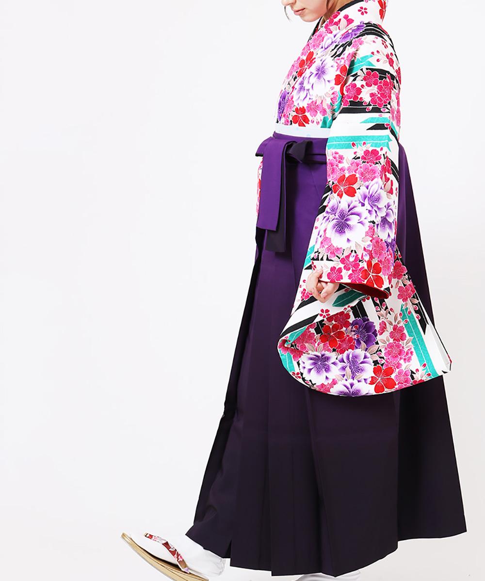 【h】|送料無料|【対応身長150cm〜157cm】【キュート】卒業式レンタル袴フルセット-1070|マルチカラー|花柄|桜|矢絣|白|黒|緑|