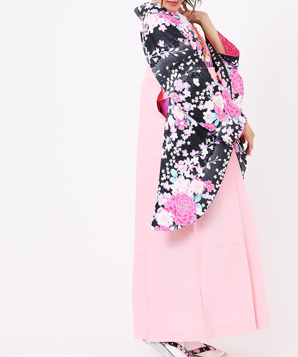 |送料無料|【対応身長157cm〜165cm】【キュート】卒業式レンタル袴フルセット-979|黒|ピンク|パステル|マルチカラー|薔薇|