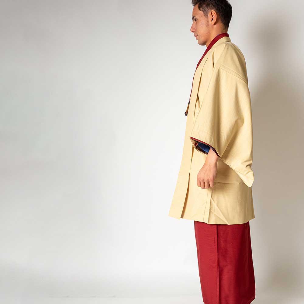 |送料無料|メンズ着物アンサンブル【対応身長160cm〜170cm】【 Sサイズ】フルセットー着物レッド×羽織アイボリー|往復送料無料|和服|