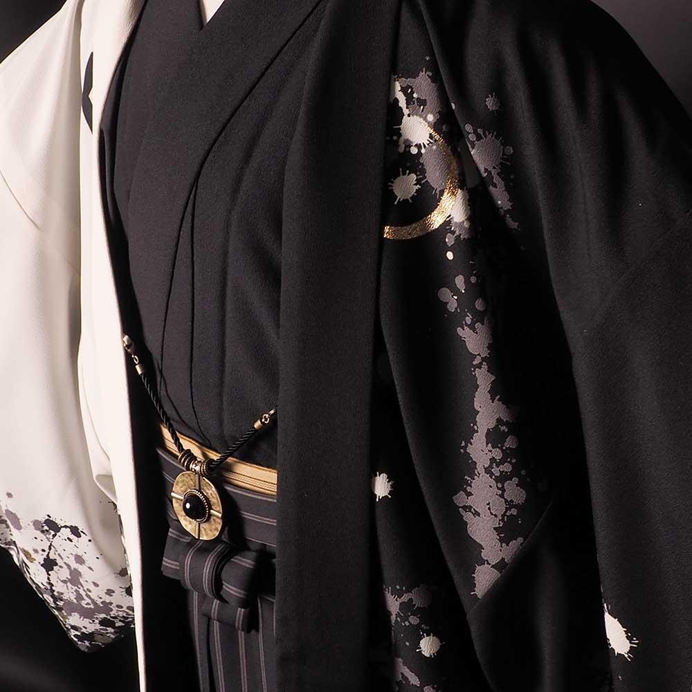 |送料無料|【成人式・卒業式】男性用レンタル羽織袴フルセット-7264