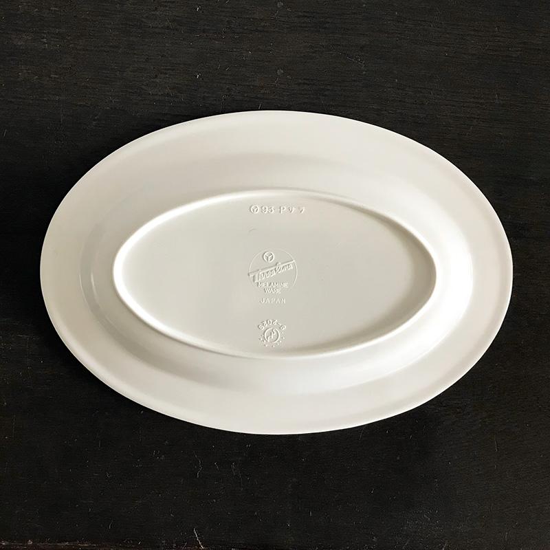 【SALE】Three Line Melamine Oval Plate 4pcs スリーライン デッドストック メラミン オーバルプレート 4枚セット