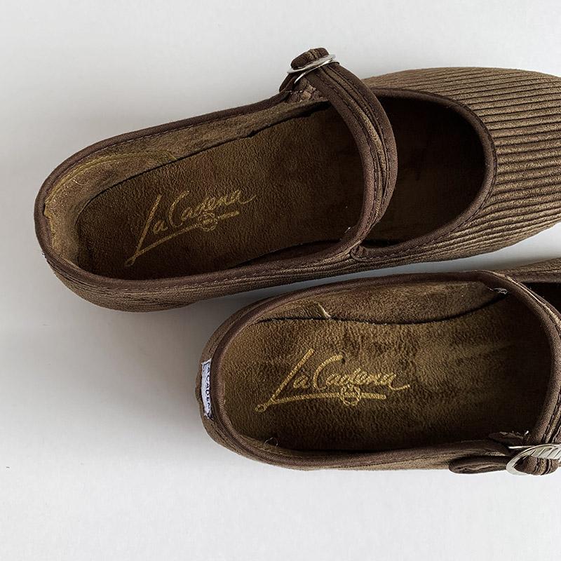 【'20秋冬新作】LA CADENA 'JAPONESA' Corduroy one strap ラ カデナ コーデュロイ ワンストラップシューズ【送料無料】