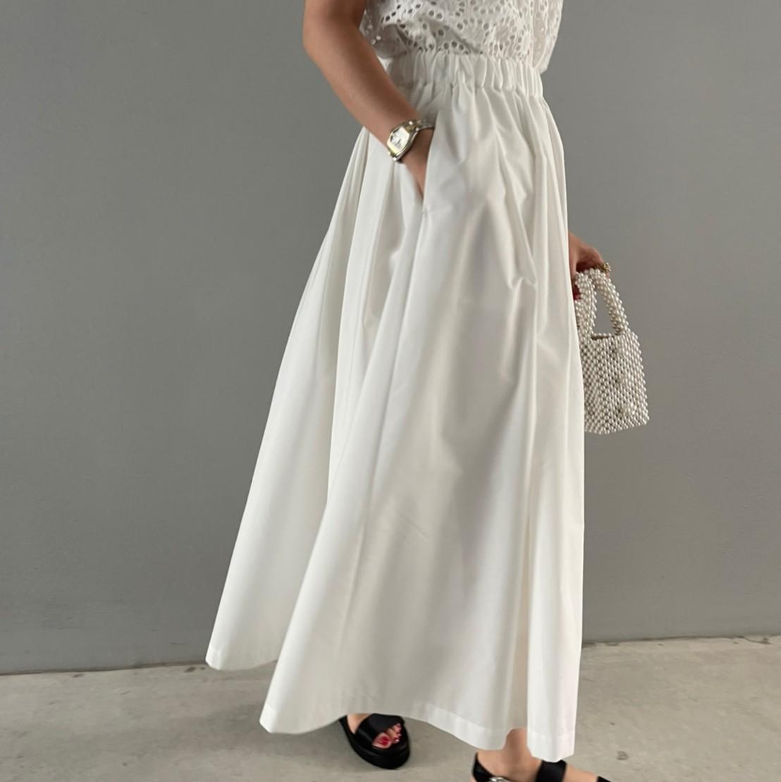 ボリュームフレアスカート(WHITE)