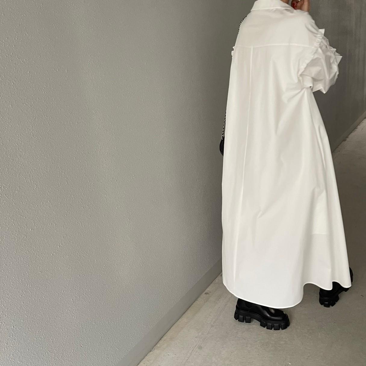 ギャザーフリルワンピース(WHITE)