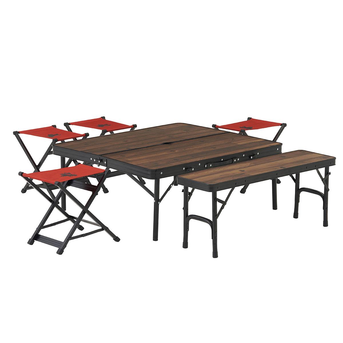 LOGOS ロゴス Tracksleeper ベンチ&チェアテーブルセット6 73188034 | アウトドア キャンプ 組立てがラク 火の粉に強い椅子
