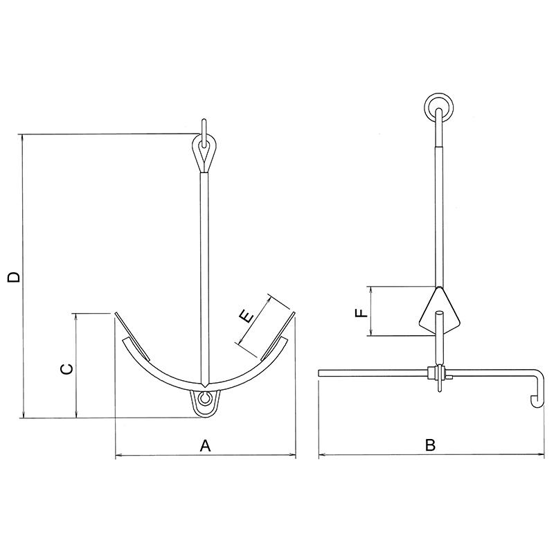 折り畳みアンカー 亜鉛メッキ 3.5kg 5kg 7kg 10kg 12kg 15kg   錨 いかり ボート用品 船舶用品 マリン用品