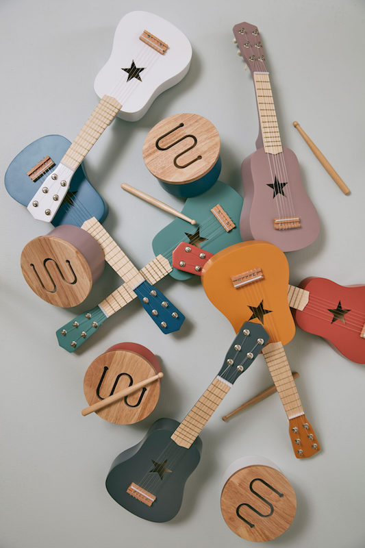 kid's concept//木製おもちゃのドラム(ブルー)