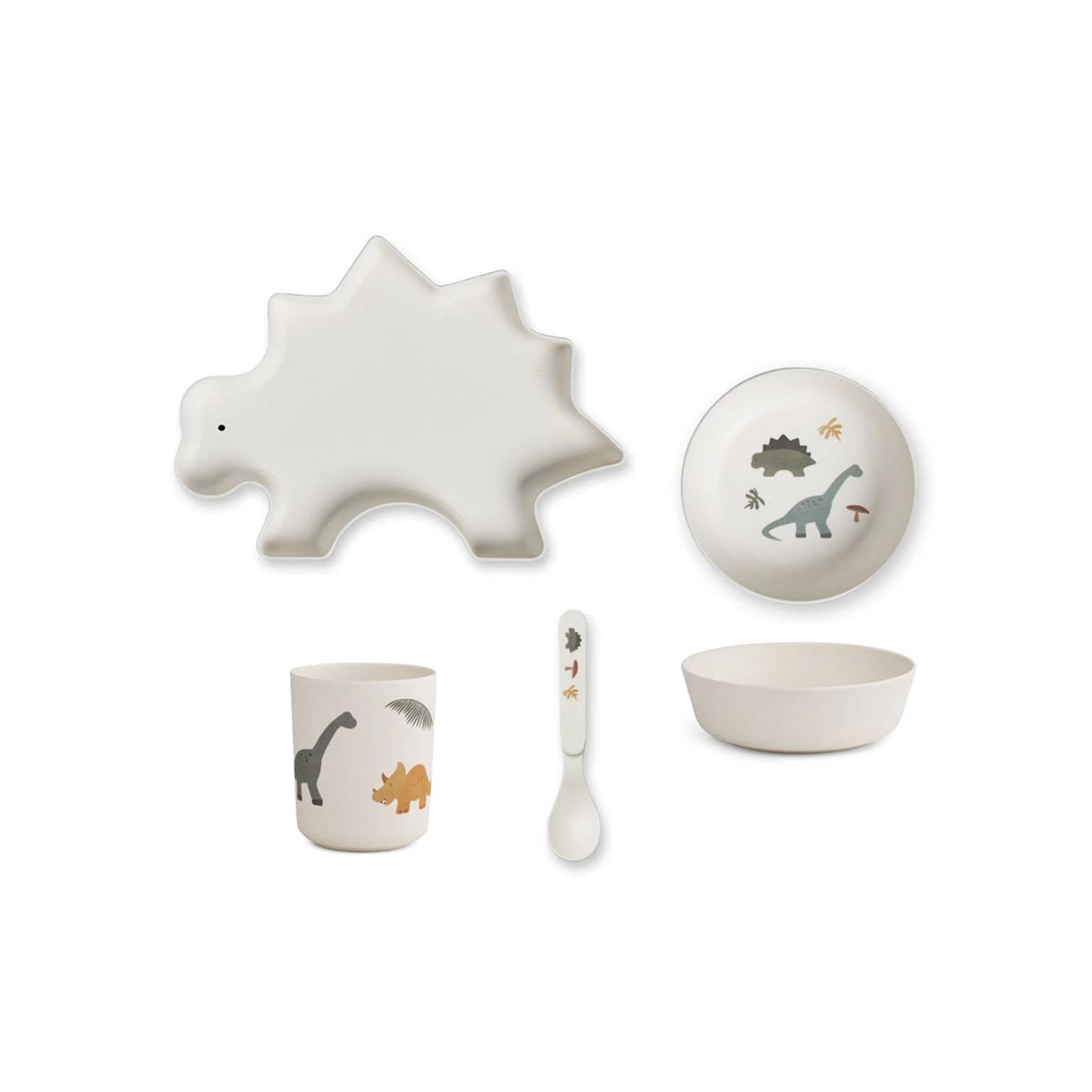 liewood //恐竜バンブー食器セット(ホワイト)