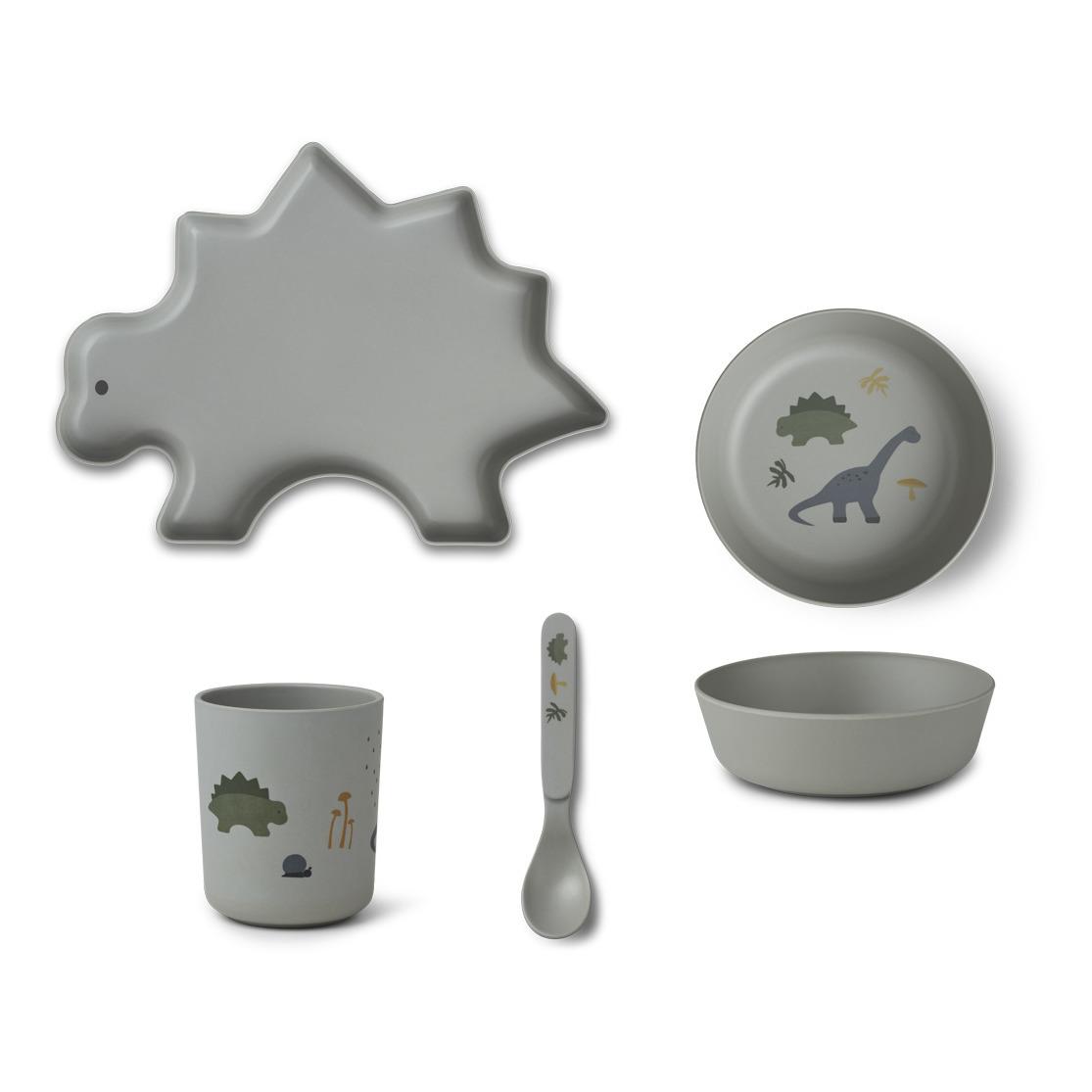 liewood //恐竜バンブー食器セット(ライトブルー)