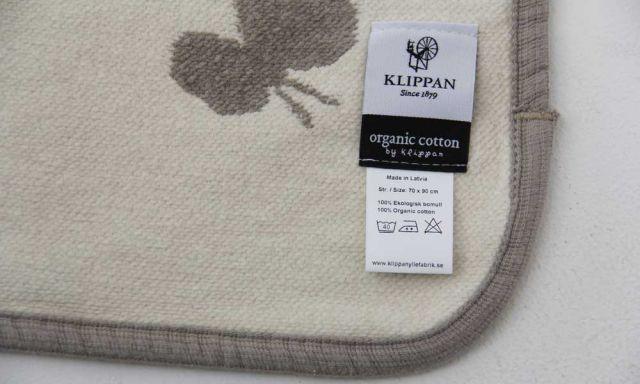 KLIPPAN/ オーガニックコットンミニブランケット(CHOUCHOU)グレー