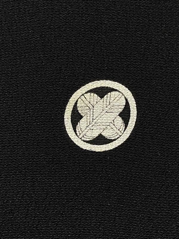 upcycle99/着物家紋入巾着袋(2枚セット)/丸に違い鷹の羽/U-312