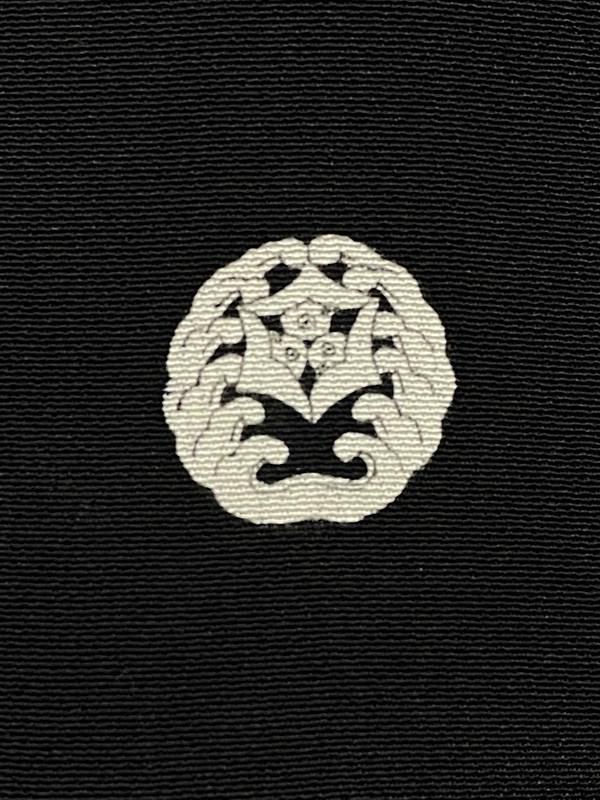 upcycle99/着物家紋入巾着袋(2枚セット)/対い波に嘴合わせ三つ雁金/U-210