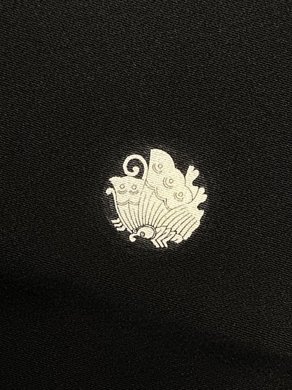 upcycle99/着物家紋入巾着袋(2枚セット)/揚羽蝶/U-226
