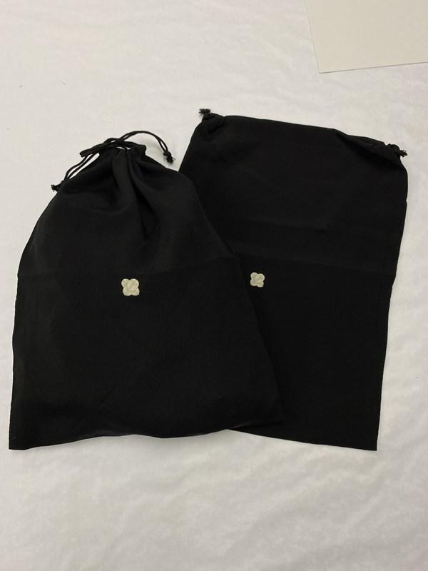 upcycle99/着物家紋入巾着袋(2枚セット)/違い鷹の羽/U-233