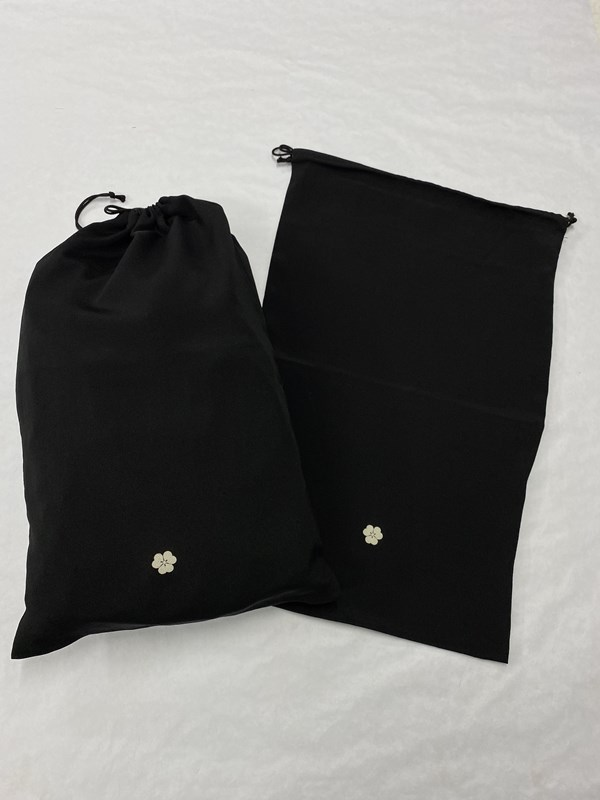 upcycle99/着物家紋入巾着袋(2枚セット)/片喰/U-252