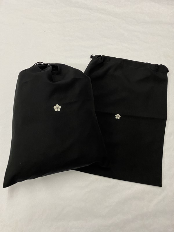 upcycle99/着物家紋入巾着袋(2枚セット)/桔梗/U-263