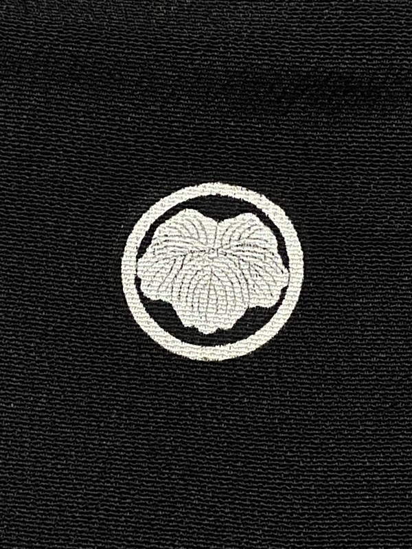 upcycle99/着物家紋入巾着袋(2枚セット)/丸に蔦/U-265