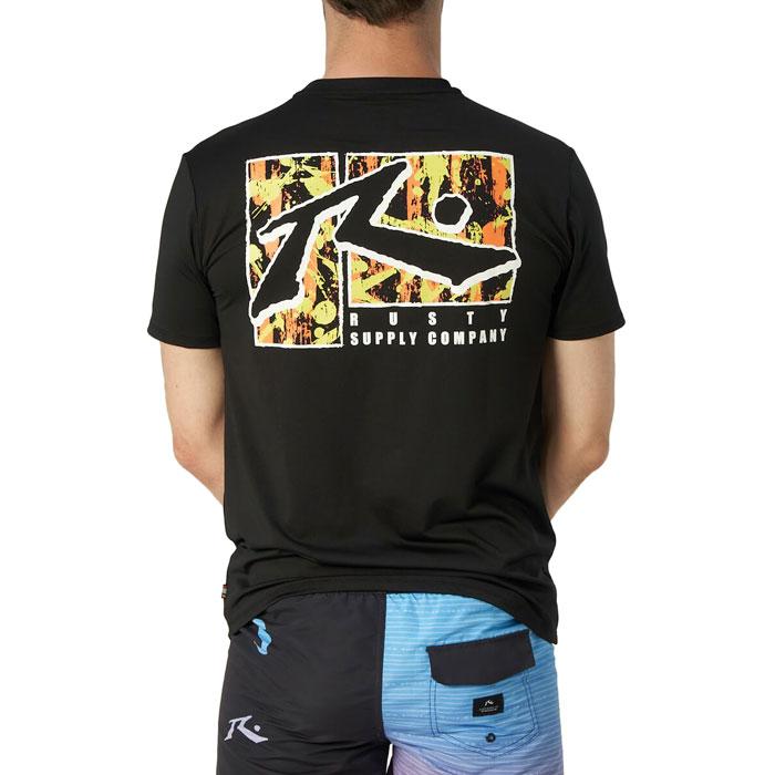 ラスティ メンズ Tシャツ 半袖 バックプリント トップス サーフT ブラック UVカット 910467