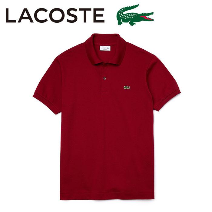 ラコステ ポロシャツ メンズ 半袖 ワンポイント 無地 トップス バーガンディ L1212AL LACOSTE
