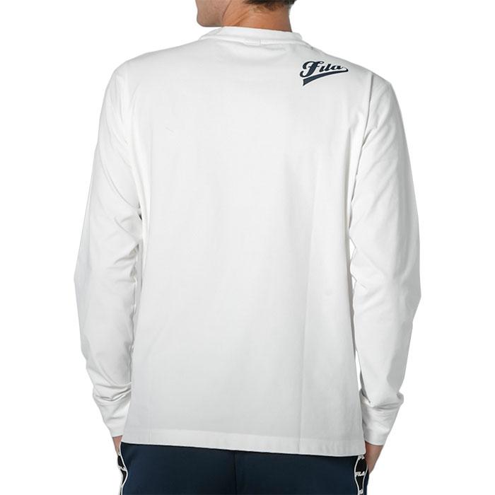 フィラ 長袖 メンズ ストレッチ FILA 白 Tシャツ トップス クルーネック カジュアル 440329