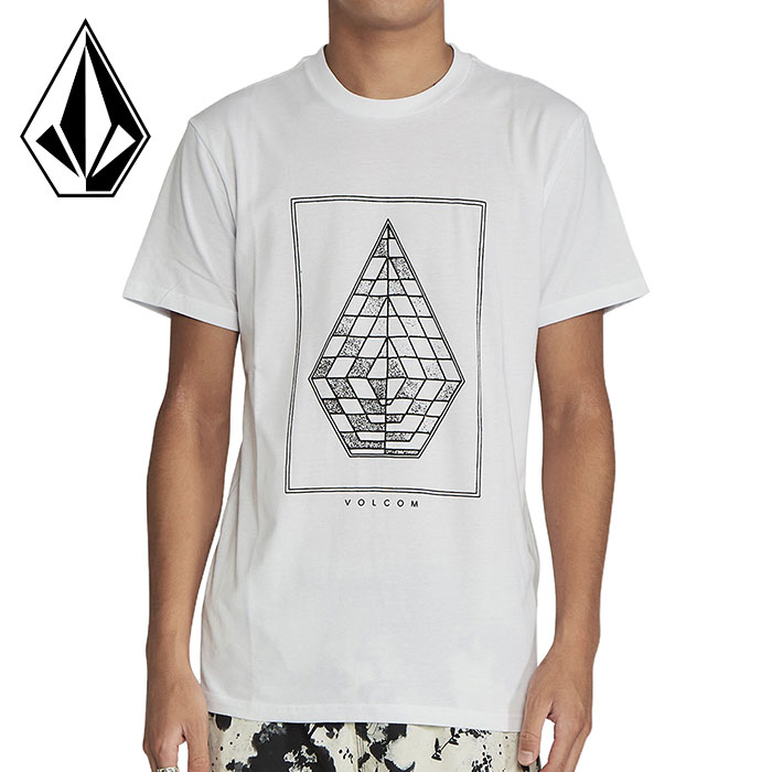 ボルコム メンズ ストリート 半袖 Tシャツ ホワイト ストーンロゴ カジュアル VOLCOM AF722001