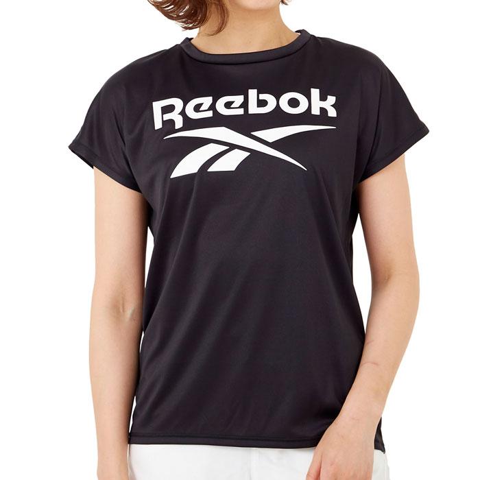 リーボック レディース Tシャツ 半袖 スポーツ ロゴ UVウェア 水陸両用 UVカット ブラック 311913