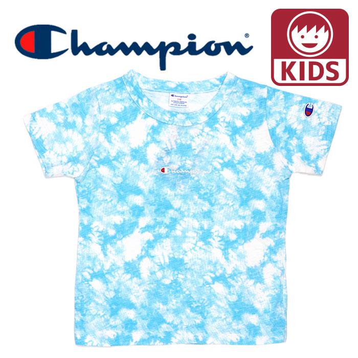 チャンピオン タイダイ 半袖 Tシャツ 綿100%  カジュアル CS6470 ジュニア キッズ 子供服 ブルー