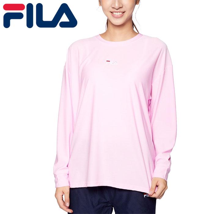 フィラ Tシャツ レディース ヨガ 長袖 フィットネス 吸水速乾 スポーツ ロゴ ピンク FILA 441600