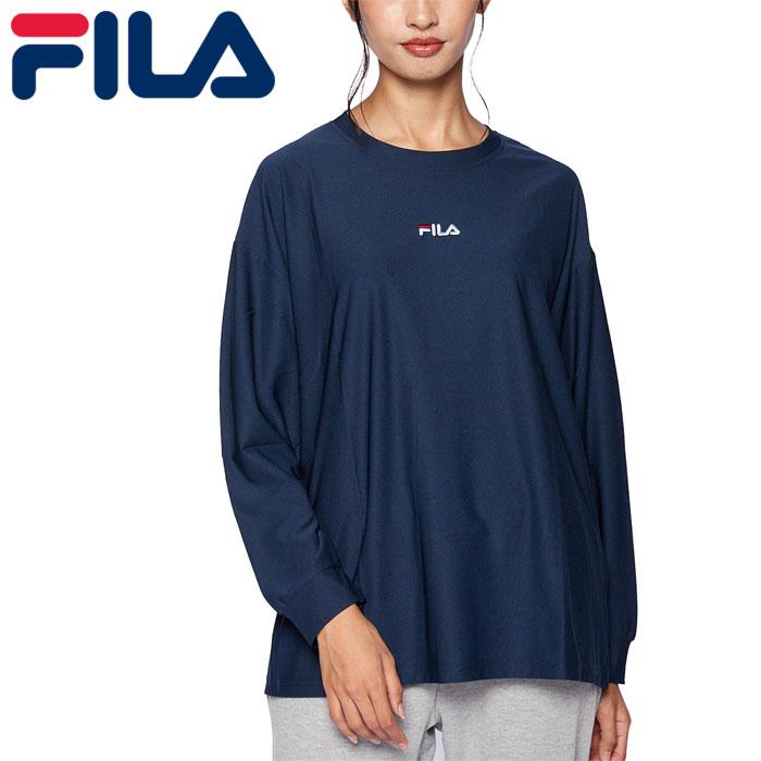 フィラ レディース Tシャツ ストレッチ ヨガ 吸水速乾 長袖 フィットネス ネイビー FILA 441600