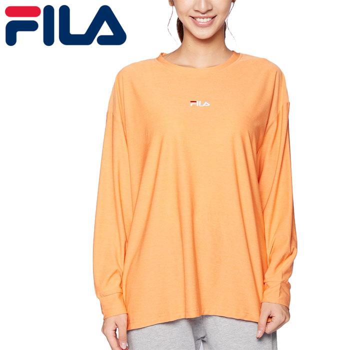 フィラ ヨガ 長袖 Tシャツ レディース フィットネス スポーツ ロゴ オレンジ 吸水速乾 FILA 441600