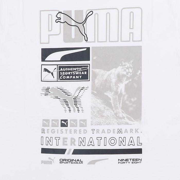 プーマ メンズ Tシャツ 半袖 PUMA レギュラーフィット ホワイト プリントTシャツ 588979 02
