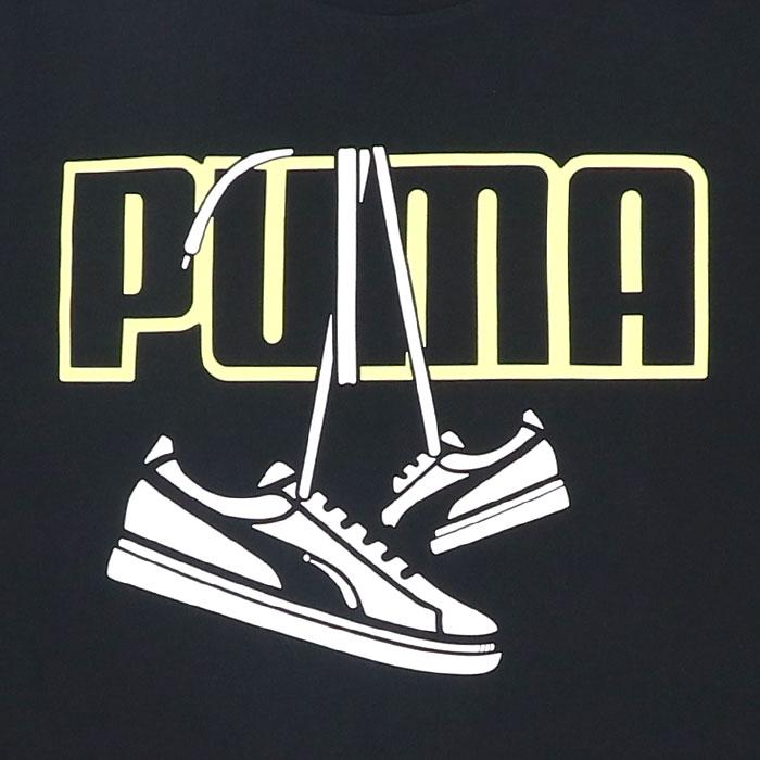 プーマ Tシャツ メンズ 半袖 グラフィック ブラック クルーネック レギュラーフィット PUMA 588987 01