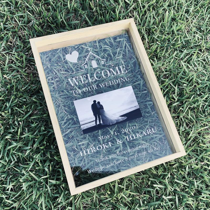 結婚式のウェルカムスペース、結婚のお祝いギフトに<br>アクリルウェディングボード A4サイズ 写真入り【木製フレーム入り】