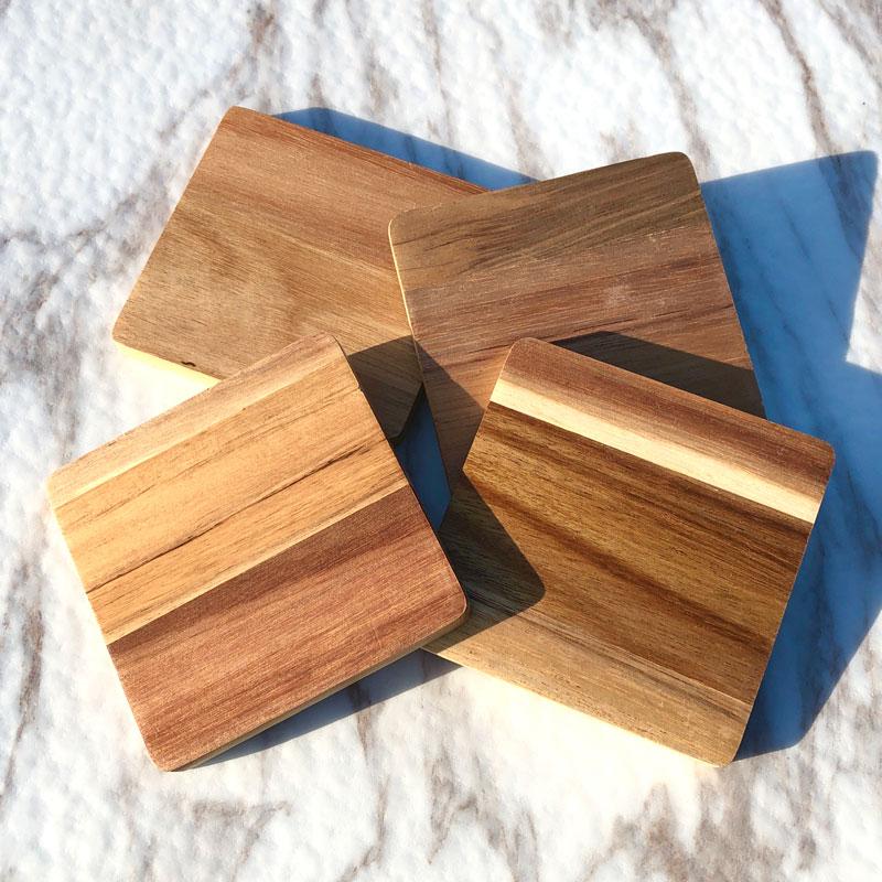 名入れ 木製 アウトドア コースター【ランタン】