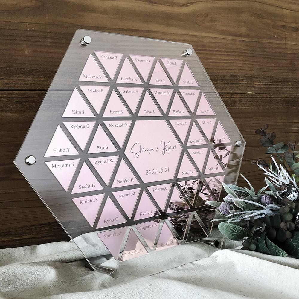 新商品【結婚証明書 ゲスト参加型】六角形 ミラーアクリル ピンクゴールド