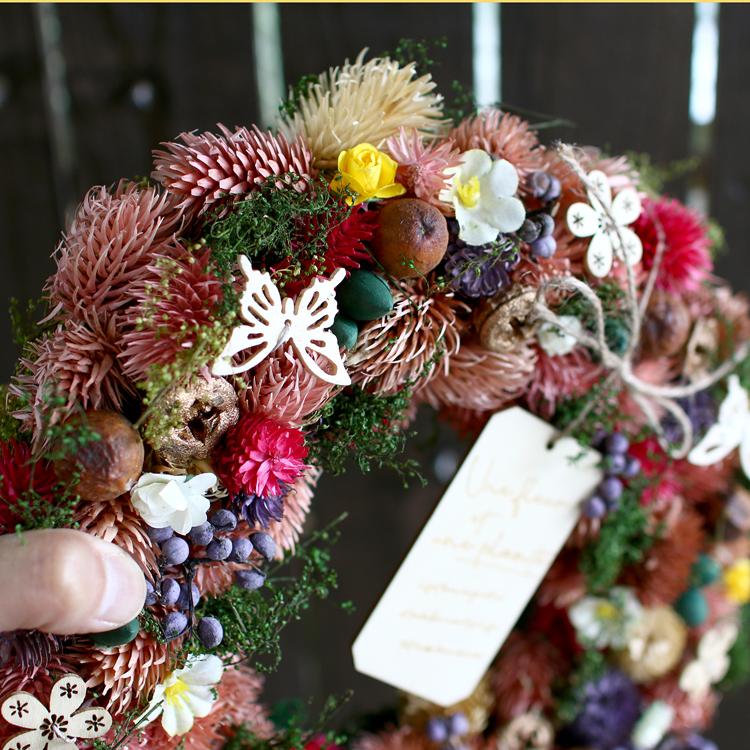 【送料無料】敬老の日 ドライフラワー リース Lサイズ  【春の出会い 4489-A】 Φ325mm